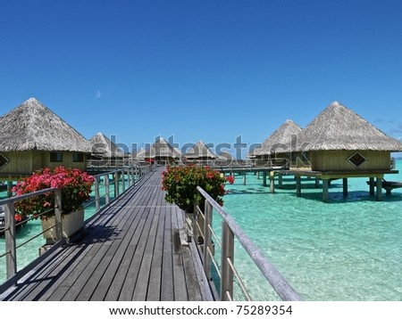 Bungalows over Bora Bora