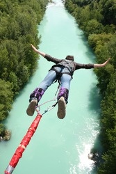 Bungee jumping over beautiful river