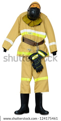 Bunker gear - protective outerwear fireman on white background