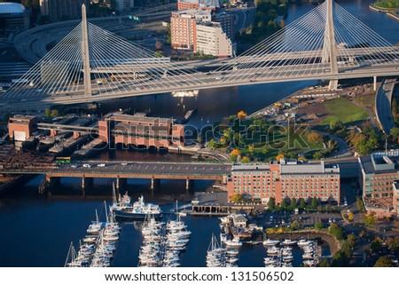Bunker Hill Bridge over Charles River, Boston, MA