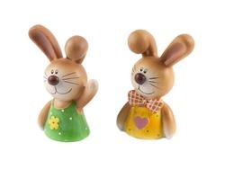 Bunny or ceramic rabbit isolated on white