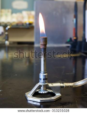 Bunsen Burner in a chemistry laboratory.