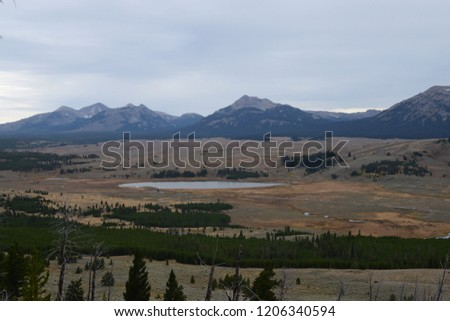 Bunsen peak hiking trail with beautiful landscape views of Yellowstone National Park #1206340594