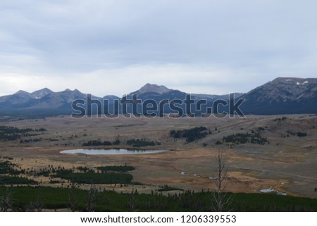 Bunsen peak trail with beautiful landscape views of mountains at Yellowstone National Park #1206339553