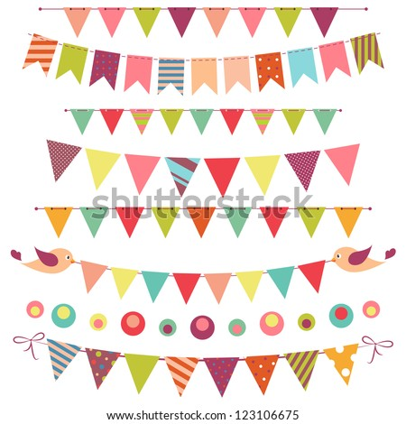 bunting and garland set isolated on white. Raster version