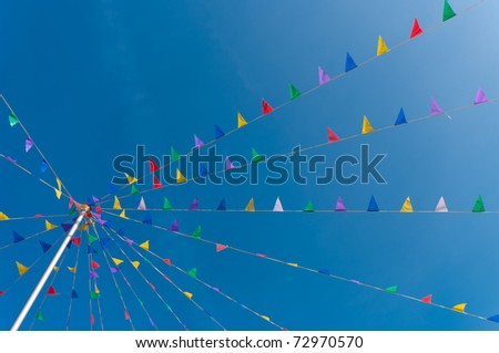 bunting flags blowing in the wind against a saturated blue sky