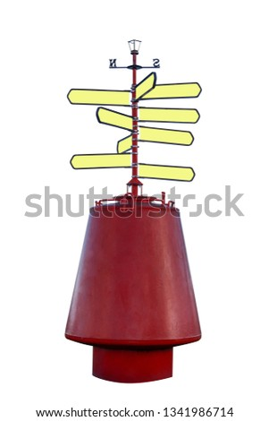 Buoy with direction signs. Direction signs isolated on white background. Concept image for direction. #1341986714