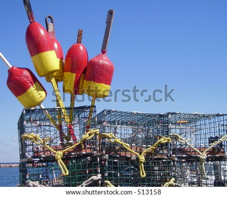 Buoys and Lobster pots - stock photo