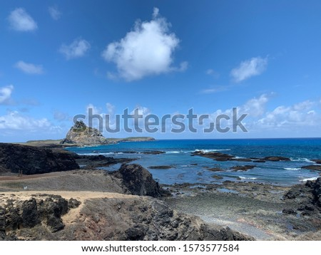 Buraco da Raquel Lookout, a tourist spot surrounded by legends and environmental importance in Noronha, a beautiful sight to see and interesting to see the different shades of blue of the sea.