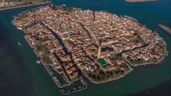 Burano - aerial view of island