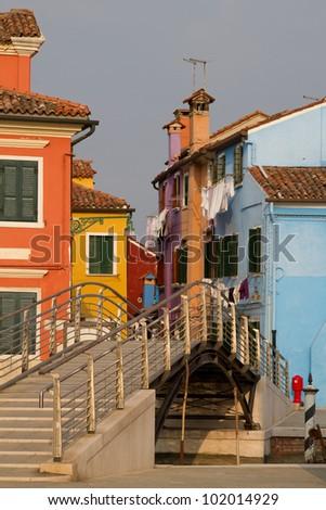 Burano, colorful island near Venice - stock photo