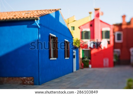 Burano island in tilt-shift - stock photo