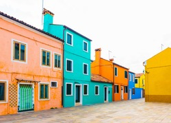 BURANO ISLAND, VENICE, ITALY. Colorful traditional houses in the Burano. Burano Island in the Venetian Lagoon, Northern Italy.