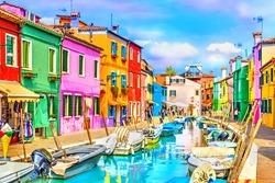 Burano island, Venice landmark, Italy.