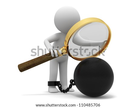 burden/ Magnifying glass/iron ball/A people observe the heavy iron with a Magnifying glass