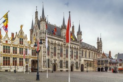 Burg square with town hall in historic center of Bruges, Belgium