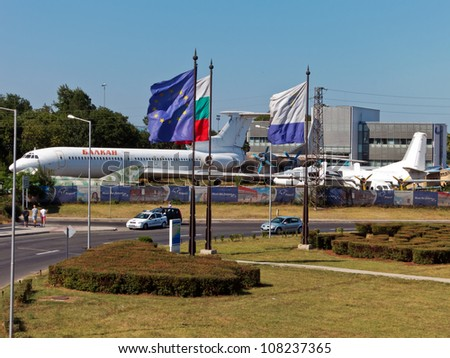 BURGAS, BULGARIA - JULY 21: General view of Sarafovo Airport main entrance and checkpoint on July 21, 2012. Deadly attack against Israeli tourists occurred on the grounds of the Sarafovo Airport.