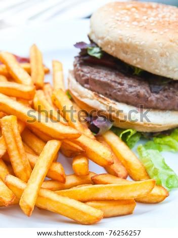 burger - American burger with fresh salad