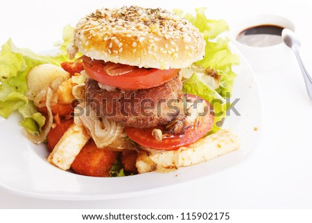 Burger and baked cheese