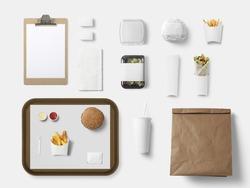 Burger bar corporate identity template design set. Branding mock up, top view