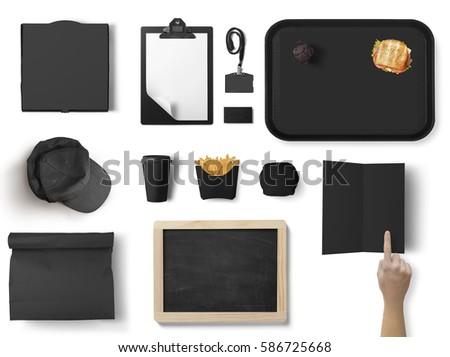 Burger bar corporate identity template design set. Branding mock up, top view #586725668
