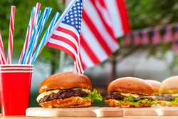 Burger bar is a party in a patriotic theme. July 4 Independance day Patriotic Symbols USA. National celebration Fourth of July federal holiday United States.