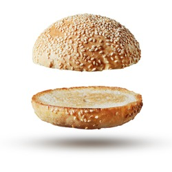 Burger bun empty isolated. American food classic burger round bread isolated at white background.