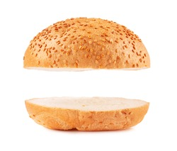 Burger buns empty isolated on white