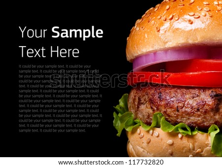 Burger. Burger on black background. Isolated Burger. Home made burger. Fastfood meal. Pub burger. Delicious Burger. Gourmet burger. Modern Burger. Closeup Burger. Burger bun. Club sandwich. Bbq.