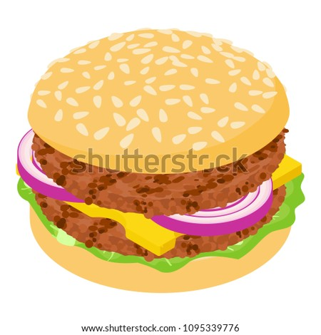 Burger cutlet icon. Isometric illustration of burger cutlet icon for web #1095339776