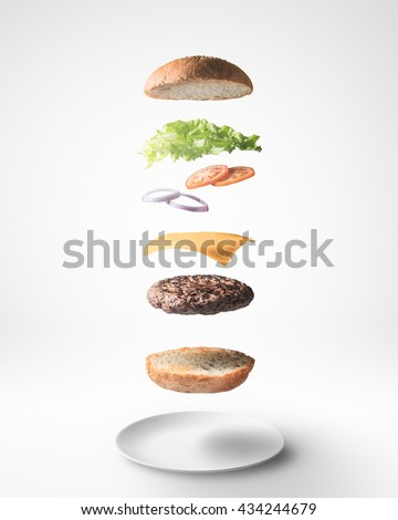 Stock Photo Burger floating 3