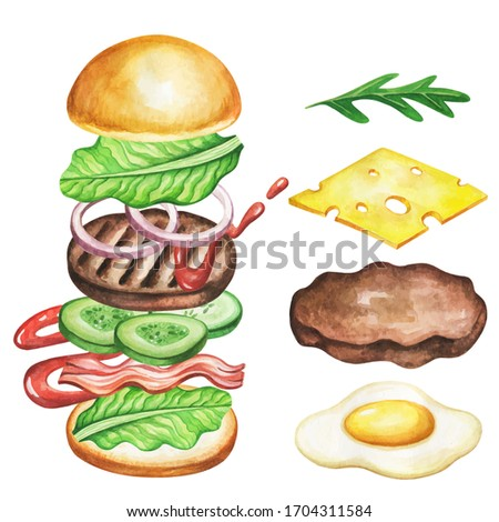 Burger ingredients watercolor. Fast food meal on watercolor illustration. Painting burger isolated on white background. Aquarelle food for restaurant menu design.
