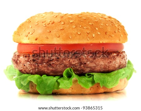 Burger isolated on white background. Fast food meal.