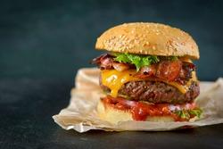 Burger on a dark background