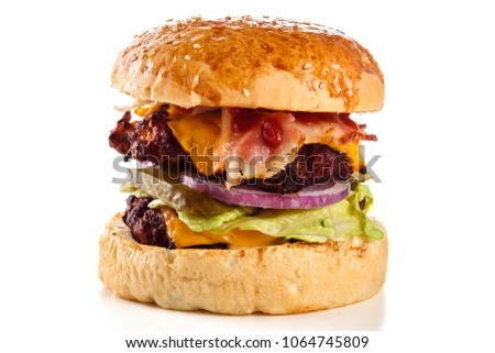 burger on a white background close up