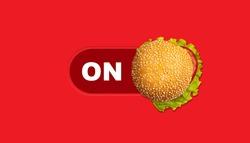 Burger ON- burger on red background shop on the concept. Digital fast food or restaurant concept