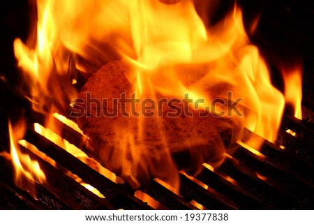 Burger on the grill with fire