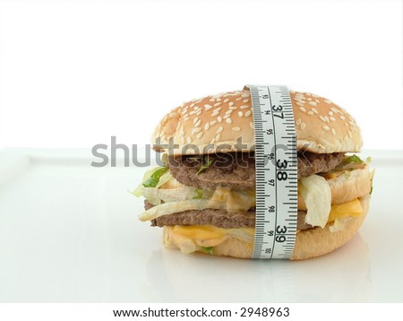 Burger with a tape measurement wrapped around it