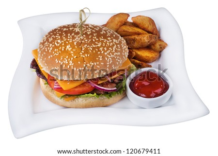 Burger with cheese, lettuce, onion and tomato on white plate with fries and sauce isolated on white background.