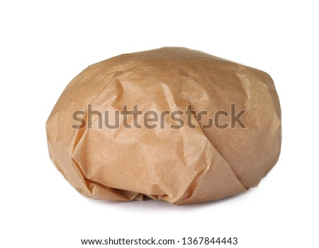 Burger wrapped in craft paper isolated on white Stock photo ©