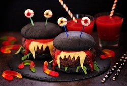 Burgers monsters for Halloween celebration.