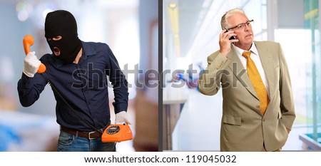Burglar Man Abusing Businessman On Telephone, Indoors