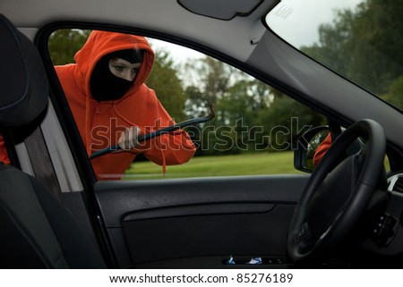 Burglar wearing a mask (balaclava), car burglary, series