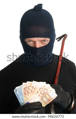 Burglar with crowbar and money - isolated on white - stock photo