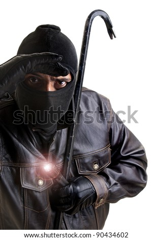 Burglar with flashlight and crowbar isolated in white