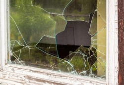 Burglary window pane vandalism background