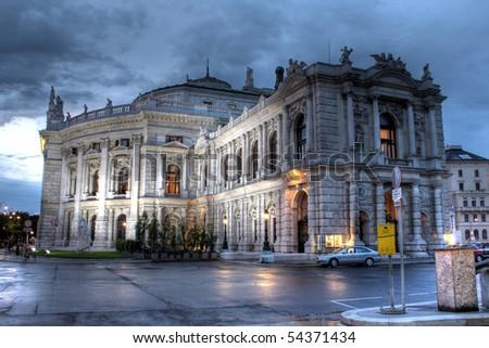 Burgtheater in Vienna at night