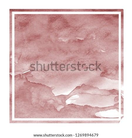 Burgundi hand drawn watercolor rectangular frame background texture with stains #1269894679