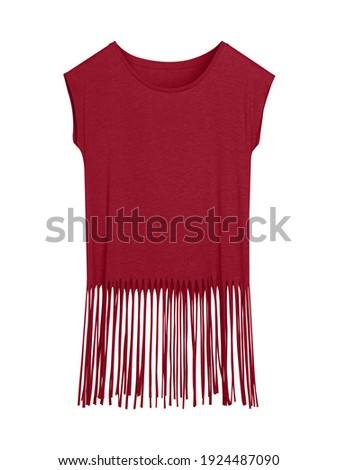 Burgundy blank boho style summer t-shirt with long fringes isolated on white Zdjęcia stock ©