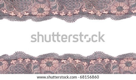 Burgundy Lace  flowers frame   closeup isolated on white background.